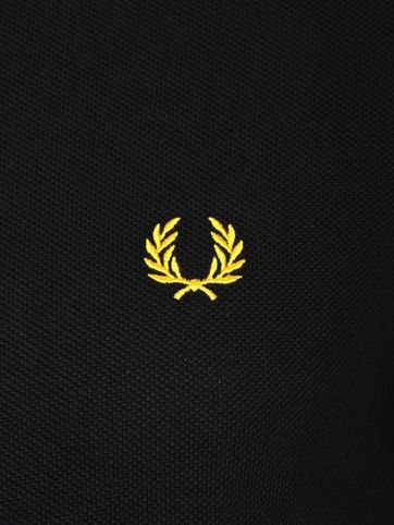 Fred Perry Polo Shirt Black Yellow Tip