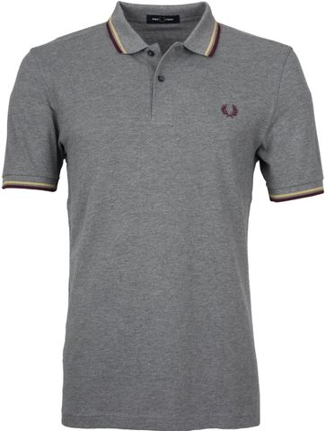Fred Perry Polo Shirt Grey Burgundy