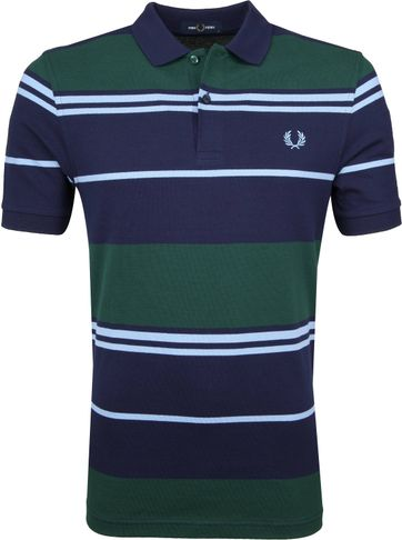 Fred Perry Polo Shirt Stripes Blue