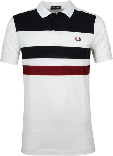 Fred Perry Polo Strepen Wit