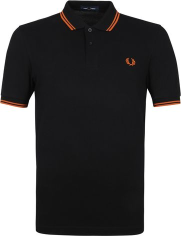 Fred Perry Poloshirt M3600 Schwarz Orange