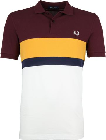 Fred Perry Poloshirt Stripes Mahogany