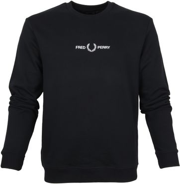 Fred Perry Sweater Logo Schwarz
