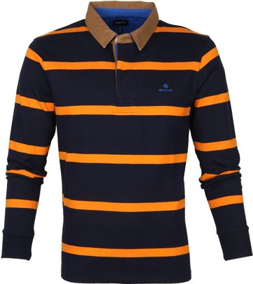 Gant Breton Stripe LS Polo Donkerblauw Oranje