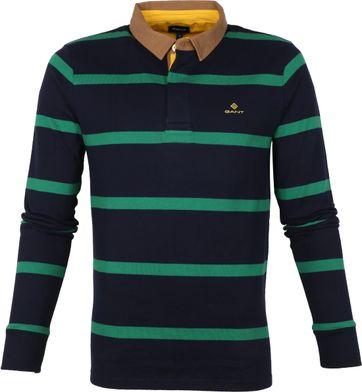 Gant Breton Stripe LS Poloshirt Navy Green