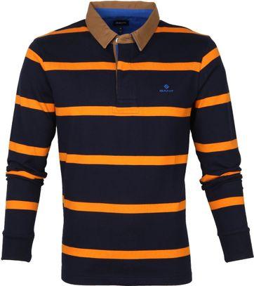 Gant Breton Stripe LS Poloshirt Navy Orange