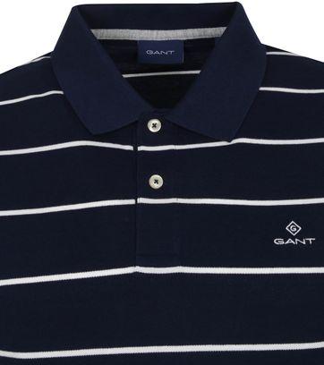 Gant Breton Stripe Polo Donkerblauw