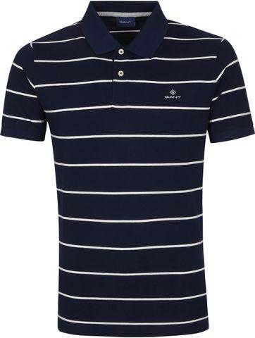 Gant Breton Stripe Polo Shirt Dark Blue