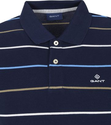 Gant Breton Stripe Polo Shirt Dunkelblau Weiß