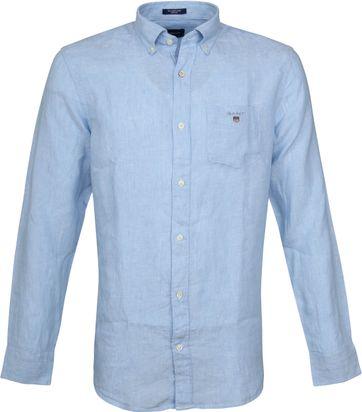 Gant Casual Overhemd Linnen Lichtblauw