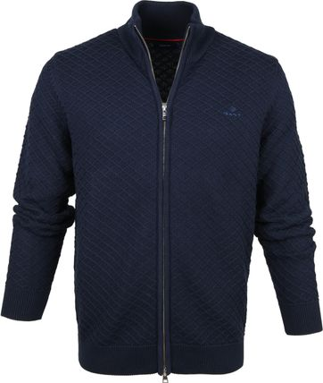 Gant Full Zip Sweater Dark Blue