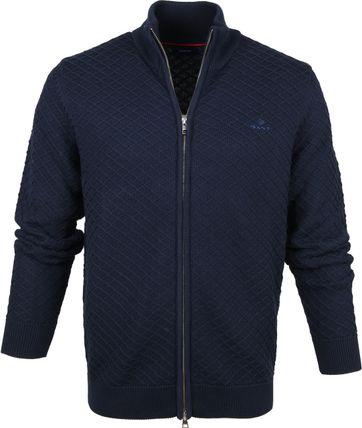 Gant Full Zip Sweater Dark Blue