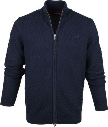 Gant Full Zip Vest Donkerblauw
