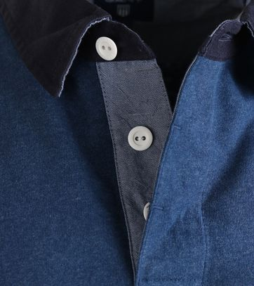 Detail Gant Longsleeve Polo Rugby Blauw