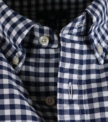 Detail Gant Overhemd Gingham Blauw
