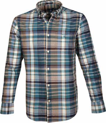 Gant Overhemd Madras Khaki Groen