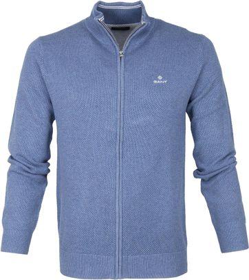 Gant Pique Zip Sweater Blau