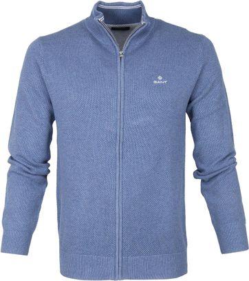 Gant Pique Zip Sweater Blue