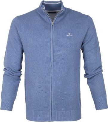 Gant Pique Zip Sweater Blue