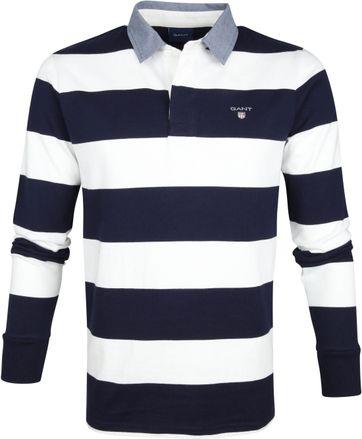 Gant Polo Poloshirt Rugger Blau Weiß Streifen