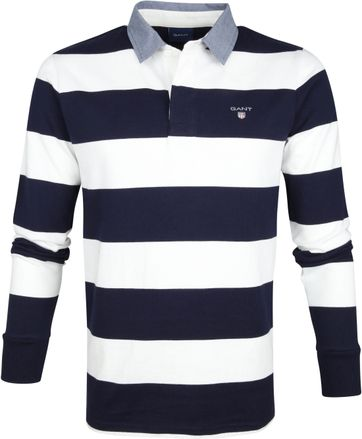 Gant Polo Poloshirt Rugger Blue White Stripes