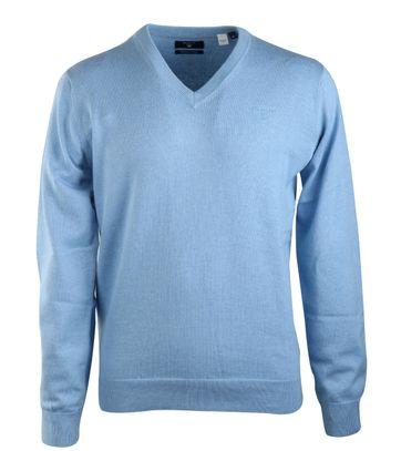 Gant Pullover Katoen V-Hals Blauw