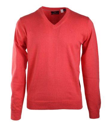 Gant Pullover Katoen V-Hals Koraalrood