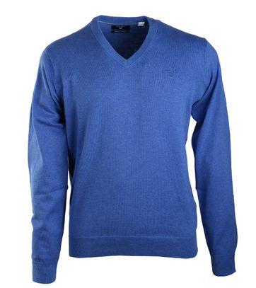 Gant Pullover Katoen V-Hals Middenblauw