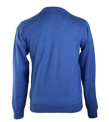 Detail Gant Pullover Katoen V-Hals Middenblauw
