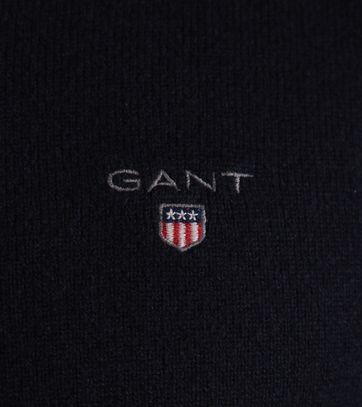 Detail Gant Pullover Lamswol Donkerblauw
