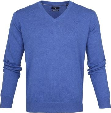 Gant Pullover Premium V-Ausschnitt Blau
