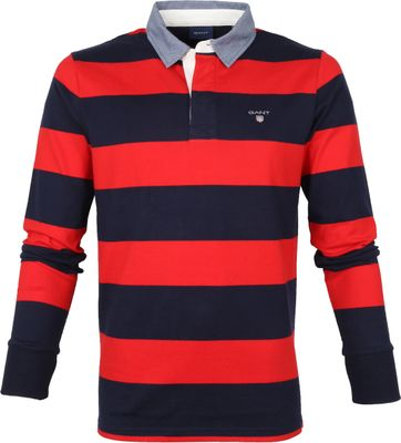 Gant Rugger LS Polo Donkerblauw Rood
