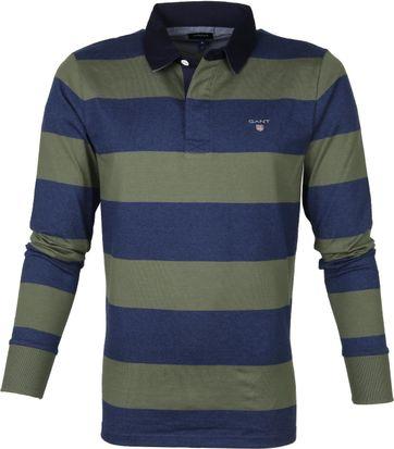 Gant Rugger LS Polo Donkergroen Blauw