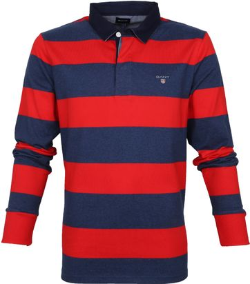 Gant Rugger LS Polo Navy Rood