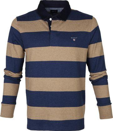 Gant Rugger LS Poloshirt Beige Blau