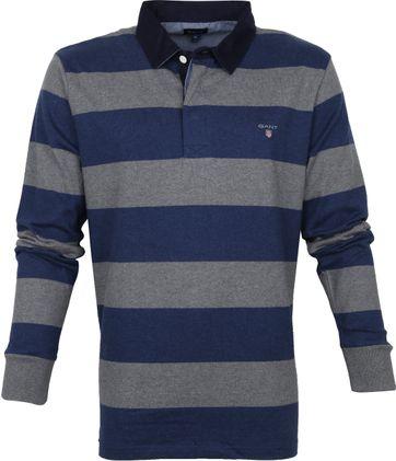 Gant Rugger LS Poloshirt Dunkelblau Grau