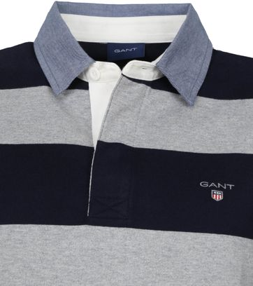 Gant Rugger LS Poloshirt Grau Dunkelblau