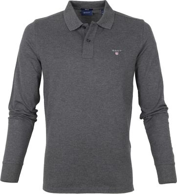 Gant Rugger Polo Shirt LS Anthracite Grey