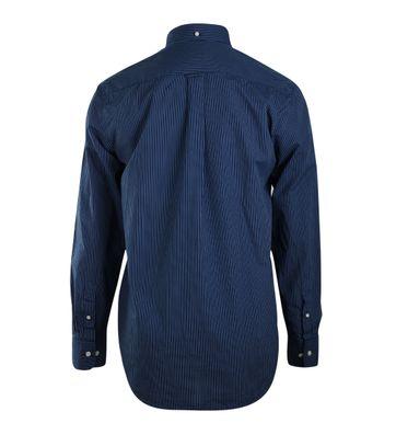 Detail Gant Shirt Donkerblauw Streep