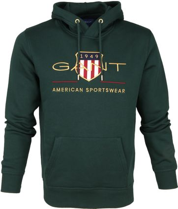 Gant Tartan Hoodie Dark Green