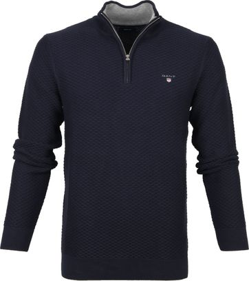 Gant Zip Sweater Dark Blue