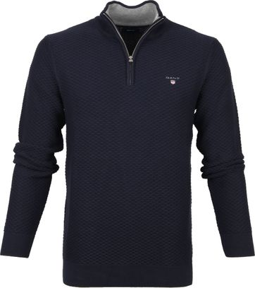 Gant Zip Sweater Donkerblauw