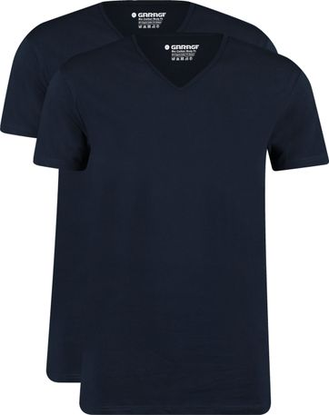 Garage 2-Pack Basic T-shirt Bio V-Neck Donkerblauw