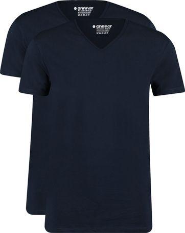 Garage 2-Pack Basic T-shirt Bio V-Neck Dunkelblau
