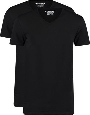Garage 2-Pack Basic T-shirt Bio V-Neck Schwarz