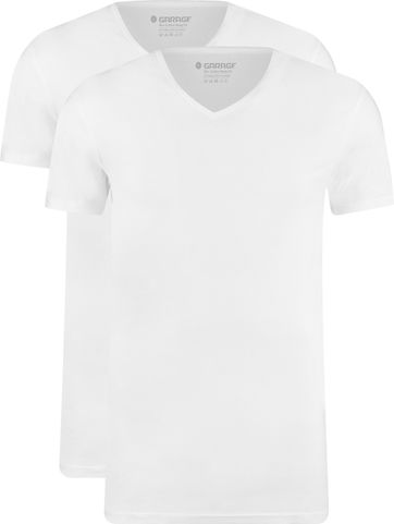 Garage 2-Pack Basic T-shirt Bio V-Neck White