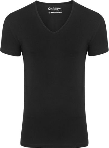Garage Stretch Basic Black V-Neck
