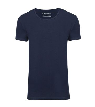 Garage Stretch Basic T-Shirt Dunkelblau Tiefer Rundhals
