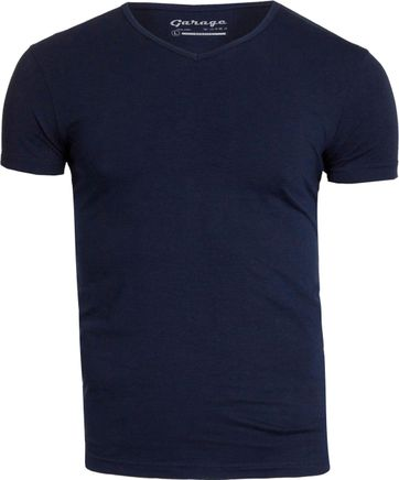 Garage Stretch Basic T-Shirt Dunkelblau V-Ausschnitt