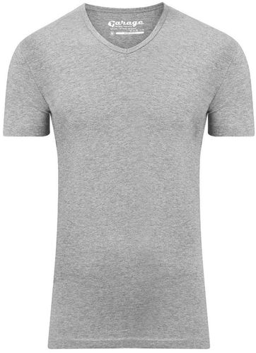 Garage Stretch Basic T-Shirt Grau V-Ausschnitt
